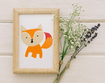 Wall Art Prints, Home Decor, Printable Art, Kids Gift Ideas, Nursery Art Print, Home Art, Kids Wall Art, Illustration - Cute fox