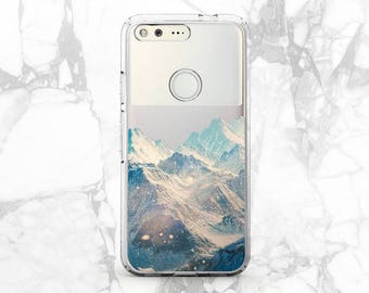Winter mountains Pixel 2 case Mountain phone case Snow mountain print Phone case nature Pixel case clear Google Pixel xl case Custom case