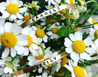Two Custom Handstamped Bracelets, gold, rose gold, silver, dainty jewelry, gifts for mom, bride to be, bridal party, boho, festival jewelry
