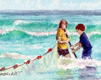 ACEO / ATC Original: 'Hauling In The Net' - watercolor on 140lb watercolor paper