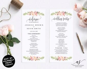 Rustic Peony Floral Wedding Program Template Wedding Ceremony Template Wedding Program Printable Editable Wedding Program Template #P03