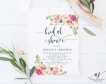 Rustic Peony Bridal Shower Invitation Boho Bridal Shower Invite Printable Bridal Shower Invite Watercolor Floral Bridal Shower #ASB07