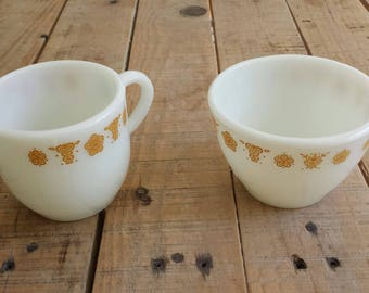 Pyrex Butterfly Gold Creamer and Sugar Bowl