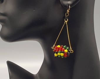 Multi Colored Hanging Ball Maasai Earring