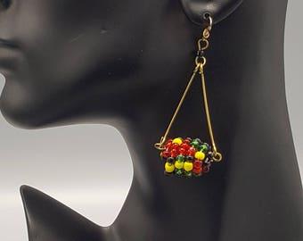 Multi Colored Hanging Ball Maasai Earring