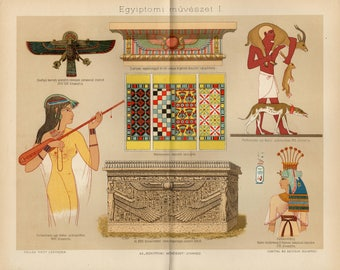 Antique lithograph of the Egyptian art from 1893