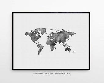 World Map Poster Water Color Print Black And White