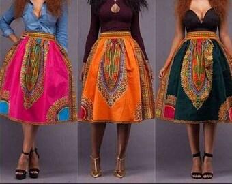 Dashiki Skirt, Dashiki Tea Length Skirt, African Print Skirt, Ankara Skirt, Tea Length Skirt, Midi-Length Skirt