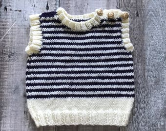 Baby Tank Top – Handmade kids sweater - Knitted Children's Jumper - Nautical Tank Top - Baby shower gift - boys clothes - girls clothes