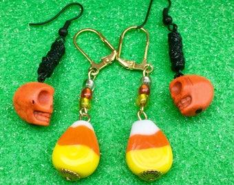 Halloween earrings, (2pr) Orange skull earrings, candy corn earrings, skull earrings, candy earrings, autumn earrings, fall earrings