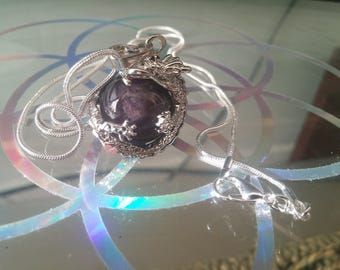 Amethyst dragon ball crystal necklace with 925 silver chain