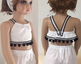 Top set white black ric rac pompoms bubbles