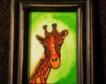 Giraffe Mini--2.5x3.5 framed watercolor
