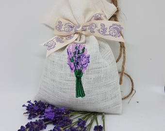 Homemade pretty dried lavender bag, perfect gift