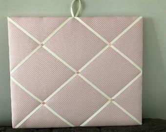 Pink spot fabric memo board
