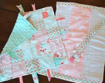 Whimsical Woodland & Floral Baby Tag Blanket Gift Set