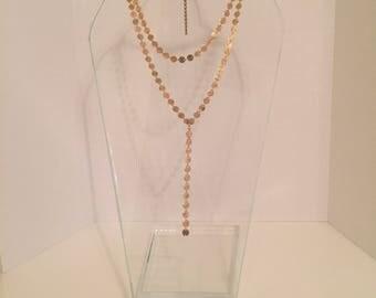 Gold Disc Y Necklace Set