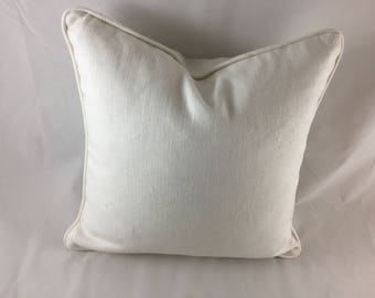 White linen self piped cushion