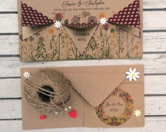 Vintage Wedding Invitation & RSVP card - Sample card in Wine