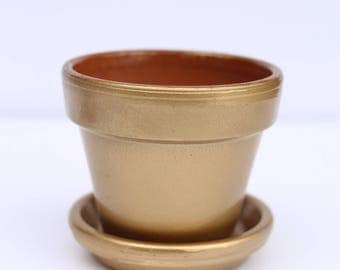 Handcrafted glossy metallic terracotta Plant Pot
