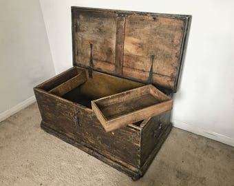 Reclaimed hand made 1940's wooden storage chest