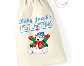 Personalised Penguin Man Baby Boys First Christmas Santa Sack Reindeer Xmas Present Stocking Drawstring Keepsake Tumblr Pintrest
