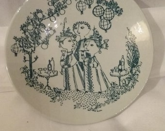 Vintae Bjorn Winblad Garden Party/Small Plate/Nymole/Denmark/Blue/White Numbered Artisian Collectible/Hand Painted/Numbered Piece/Used