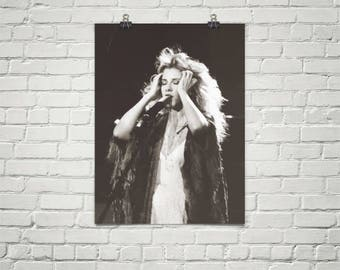 Stevie Nicks Poster - Fleetwood Mac Poster - Music Poster - Black And White Poster - Bohemian Decor - Premium Semi-Gloss Photo Paper Poster
