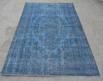 5.6 x 9 Ft-Turkish BLUE Rug,Vintage OUSHAK BLUE Rug