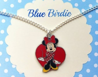 Minnie Mouse necklace Minnie Mouse jewelry Disney necklace Minnie Mouse jewellery Disney jewelry Minnie Mouse gifts enamel Minnie Mouse