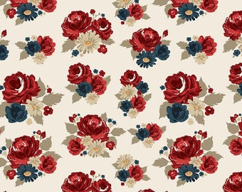 Floral Main Cream American Heritage fabric by the yard - Penny Rose Fabrics - Riley Blake - patriotic - 4th of July -red, white, and blue