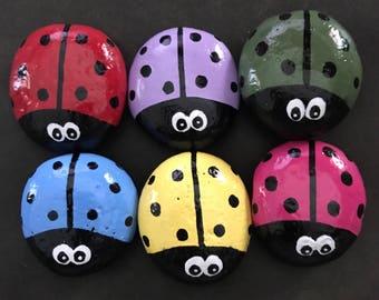 Set: 6 Colorful Big-Eyed Ladybug Garden Stones-- Painted Rocks--ONLY 2.50 each! @MoonRocksArt