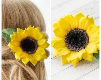 Sunflower hairclip Yellow flower hairclip Large Sunflower Hairpin Sunflower hairpin Big yellow flower Rustic Sunflower hairclip