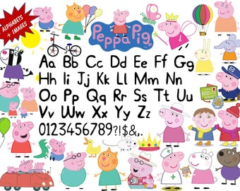 Full Alphabet + 29 PEPPA PIG Clipart Images 300 DPI Transparent Background True Type Font Scrapbooking, Stickers, Party, Printing,Banners