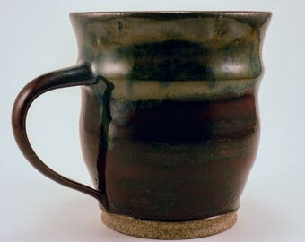 Rustic, Wheel Thrown 12 oz Red and Green Mug
