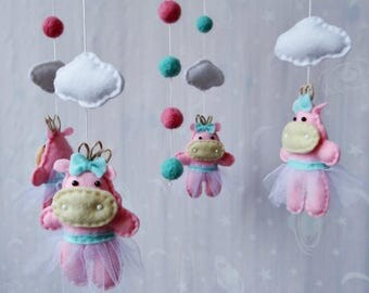Baby crib mobile Girls Hippos Ecology babies decor Baby mobile Felt mobile Ceiling mobile Nursery decor Felt nursery mobile Shower gift