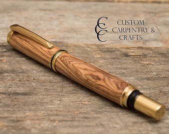 Wood Rollerball Pen, Valentines Gift, Olive Wood, Grade A, Wood Turned Pen, Custom Pen, Gift for writers, Pen Lovers