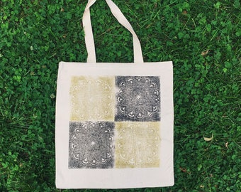 Hand printed canvas tote bag