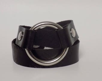 Double Wrap Leather Bracelet, Women's Leather Bracelet with Silver, Men's Leather Bracelet with Silver - Leather Jewelry, Leather Cuff