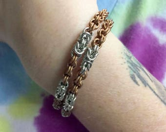 Copper and Silver Plated Chain Mail Bracelet