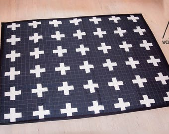 Swiss Cross, Square, cotton, kids play mat, Anti slip, durable, Modern, rug, baby play mat, tummy time, play time, kids room décor