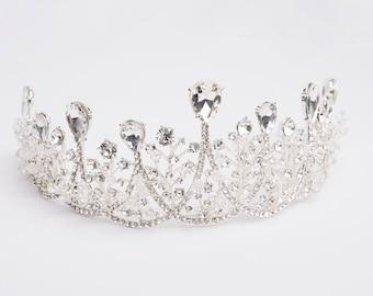 VICTORIA Crystal Bridal Tiara, Swarovski Bridal Tiara, Crystal Wedding Crown, Rhinestone Tiara, Wedding Tiara, Diamante Crown, Bridal Crown