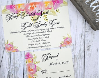 Wedding Invitation Watercolor Flowers Thermography (Raise Ink)