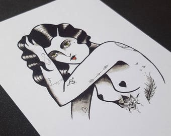 A6 Postcard - 2000s Trendy Tattooed Babe