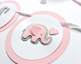 Elephant Girl Baby Shower Banner Baby Girl 1st Birthday Party Decorations Pink Gray Baby Shower Baby Elephant Garland Its a Girl Garland