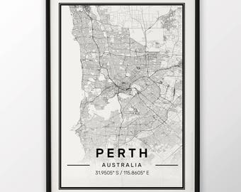 Perth City Map Print Modern Contemporary poster in sizes 50x70 fit for Ikea frame 19.5 x 27.5 All city available London New York Paris