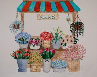Original, One-of-a-kind Watercolour Art, A4 artwork, Watercolour Flowers, Flower Stall Artwork