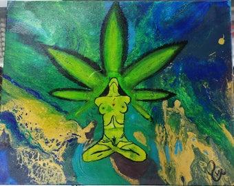 Green High Goddess Acrylic Painting