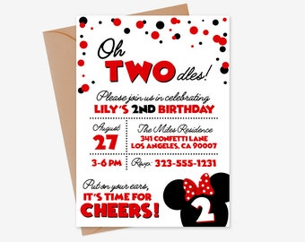 Oh Twodles Invitation, Minnie Mouse Invitation, 2nd Birthday Invitation, Oh Twodles Minnie Mouse Invite, Minnie Mouse Twodles Invitation