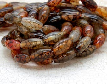 """Spider Web Agate Barrel Natural Gemstone Loose Beads Bead 5mm x 8mm x 12mm Full 15.5"""" Strand"""